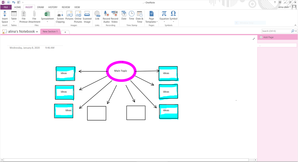 add text on mind map
