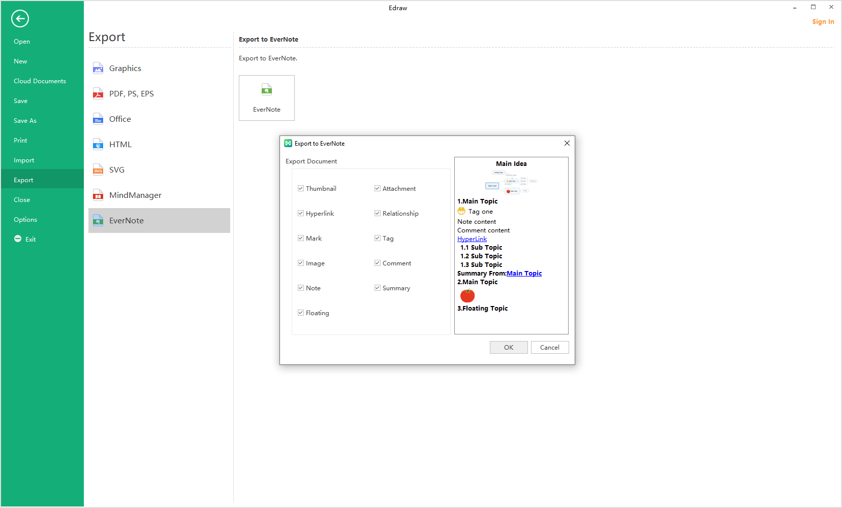EdrawMind export to evernote1