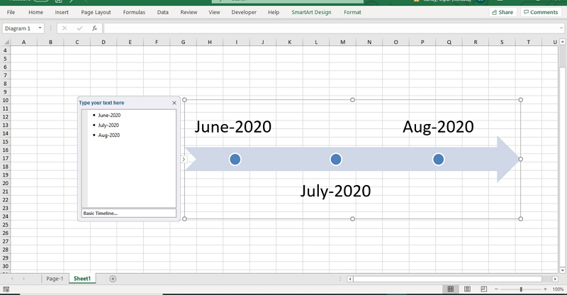 how to create timeline in excel