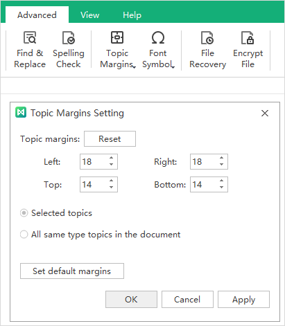 topic margin setup